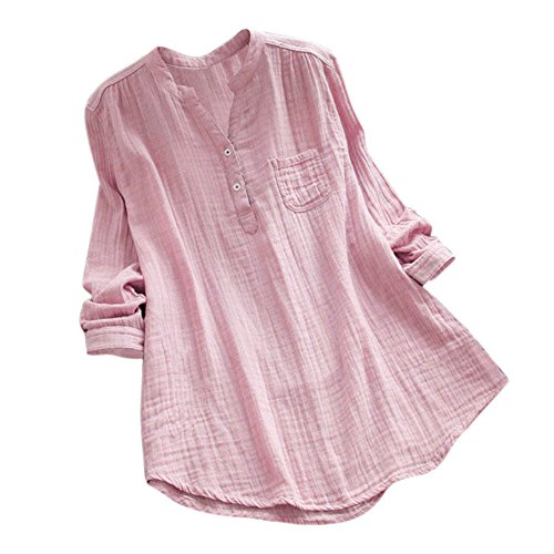- HGWXX7 Womens Solid Plus Size Long Sleeve Cotton Loose Tunic Tops T Shirt Blouse (M, Pink)