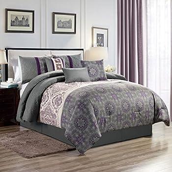 9 Piece Sloan Taupe//Gray 100/% Cotton Comforter Set Queen
