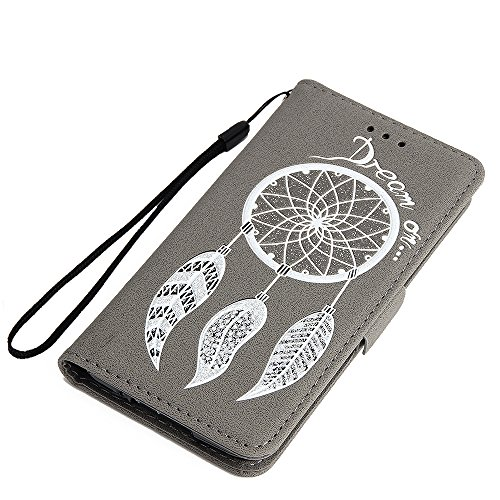 Galaxy S5 Cover Silicone Bumber,Galaxy S5 Case Bookstyle,Hpory Retro Blume Rattan Butterfly Muster Bling Flash-Pulver Handyhüllen Leder PU Bookstyle Klapphülle Case With Multi-Kredit Kartenfächer Wall Glitzer Windspiele,grau