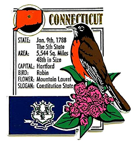 Connecticut State Bird Flower - Connecticut the Constitution State Montage Fridge Magnet