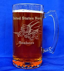 Custom Etched US Navy Seabee Emblem on 25 Oz Sports Mug (1)