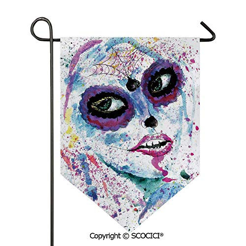 SCOCICI Easy Clean Durable Charming 12x18.5in Garden Flag Grunge Halloween Lady with Sugar Skull Make Up Creepy Dead Face Gothic Woman Artsy,Blue Purple Double Sided Printed,Flag Pole NOT Included