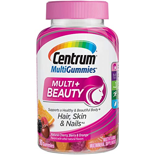 Centrum MultiGummies Multi + Beauty (90 Count, Natural Cherry, Berry, Orange Flavors) Multivitamin / Multimineral Supplement Gummy (Best Gummy Vitamins For Women)