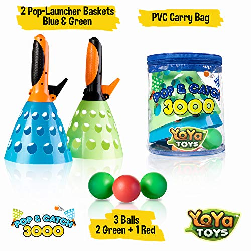YoYa Toys Pop & Catch Launcher Basket with 3 Balls   for Girls, Boys, Adults, Indoors & Outdoors   Promote Fine Motor Skills, Improve Kinesthetic Learning & Hand to Eye Coordination   in A Carry Bag - coolthings.us