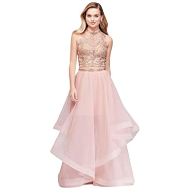 David\'s Bridal Illusion Mesh Two-Piece Prom Dress with Horsehair ...