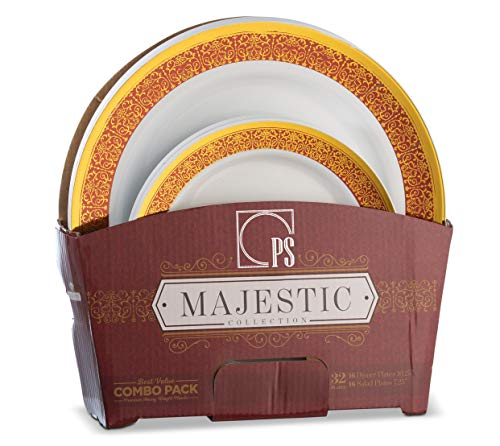 32 Piece Plastic Plates Set Elegant Plastic Dinnerware Set for 16 Guests Includes 16 Fancy Disposable Dinner Plates 16 Dessert Plates Thanksgiving (Gold and Burgundy) Posh Setting