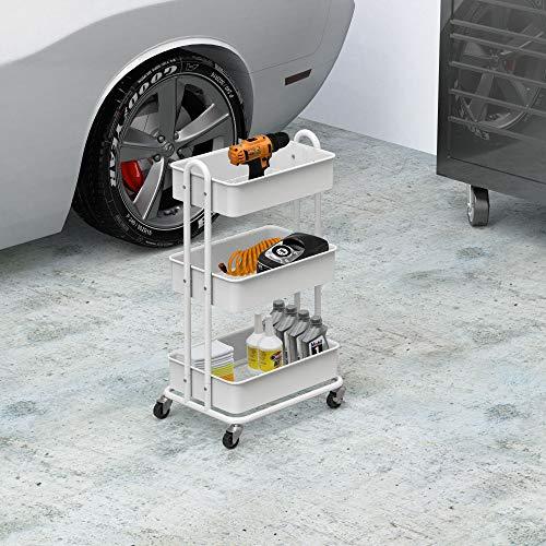 Image of SimpleHouseware Heavy Duty 3-Tier Metal Utility Rolling Cart, White