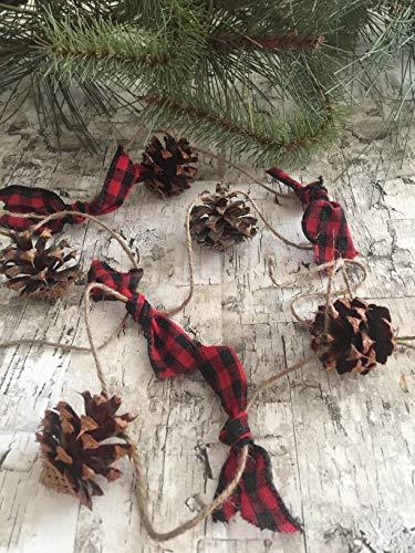 (Pine Cone Garland, Buffalo Check, Buffalo Plaid. Rustic farm house garland. Christmas, winter, swag. lodge-pole pines. 6 foot Rustic ornaments Lake Tahoe Pine)