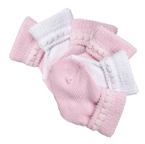 Trimfit Baby Girls Cotton Infant Bootie 6-Pack Pink/White M (0-6 months)]()