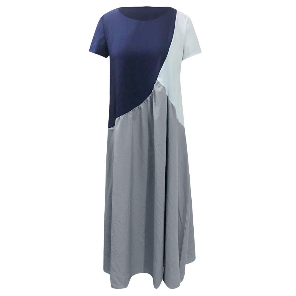 holitie V/êtements Robe Longue Femme Mode Femme Robe d/écontract/ée /à Manches Courtes pour Femmes,col Rond Longue Robe Ample