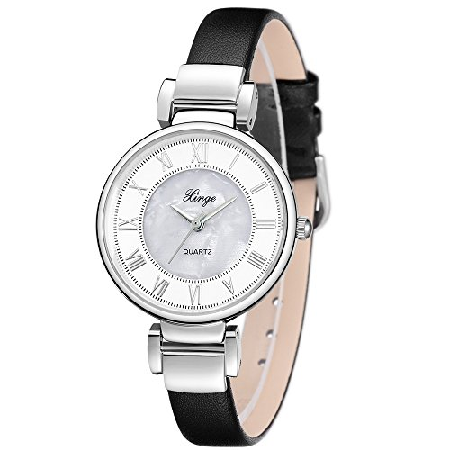 Xinge Leather Wrist Watches for Women with Pearl Shell Dial Analog Quartz Roman Numbers SXG760