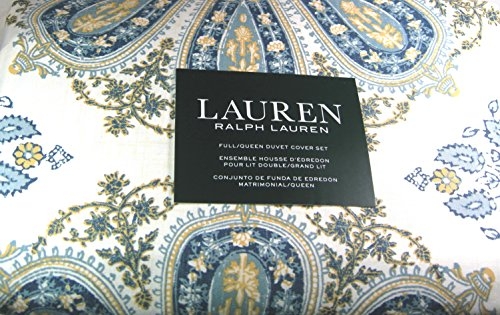 Ralph Lauren Yellow Paisley - Lauren 3 Pc Floral Paisley Medallion Full/Queen Size Duvet Cover Set with 2 Standard Shams 100% Cotton