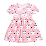 NUWFOR Toddler Kids Baby Girl Summer Easter Bunny Princess Dress Clothes Outfits
