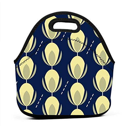 Blooming Buds_3198 Waterproof Insulated Lunch Portable Carry Tote Picnic Storage Bag Lunch box Food Bag Gourmet Handbag For School -