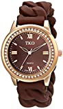 TKO Women's Round Rose Gold Metal Crystal Bezel Brown Stretch Expansion Rubber Chain Link Roman Numeral Watch TK640RBR