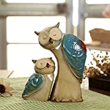 WOMHOPE Set of 2 - Wise Owls Statues House Warming Gift Combined Figurine Statues Tabletop Shelf Ceramic Ornaments Home Decorative Collectible Figurine Statues (Deep blue (Set of 2))