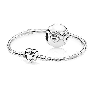 1efbceecf Original Pandora starter set - 1 Moments Silver Bracelet with Heart Clasp  590719-23 and 1 Dainty Bow Charm 791777CZ: Amazon.co.uk: Jewellery