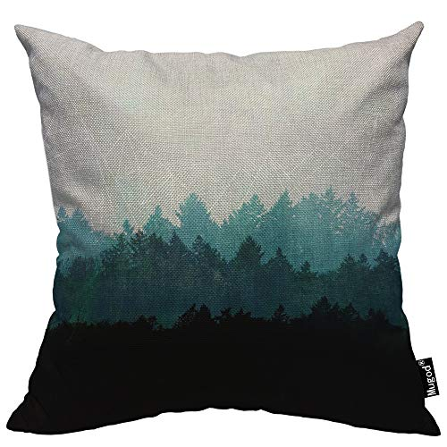 Mugod Forest Throw Pillow Misty Foggy Coniferous Forest Mountains Trees Green Black Cotton Linen Square Cushion Cover Standard Pillowcase 18x18 Inch for Home Decorative Bedroom/Living Room/Car (Forest Throw Green Pillows)