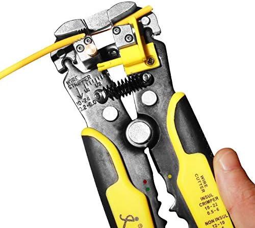 No-branded Crimper Wire Stripper Self-Adjusting 8.4 Inch Cable Cutter Crimper 3 in 1 Multi Pliers for Wire Stripping Cutting Crimping MDYHJDHYQ (Color : Dark blue) Orange