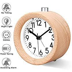 Jcobay Wooden Bedside Alarm Clock, Non Ticking Small Silent Round Desk Clock Battery Operated Snooze Morning Clock with Nightlight for Home and Office