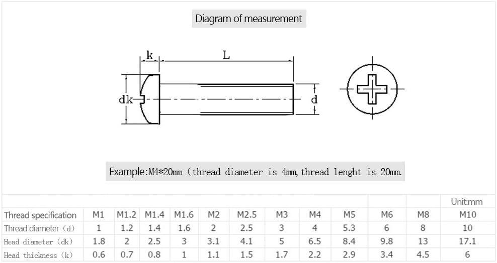 3mm-60mm BOZEVON M2.5 x M2.5 * 12mm 50pz Viti Confezione da 5pz//10pz//20pz//50pz//100pz per Supporto tv Muro staffa per parete Monitor televisori e display 3D