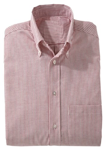 Edwards Garment Men's Big And Tall Short Sleeve Oxford Shirt_BURGUNDY STRIPE_XXXXXX-Large Tall ()