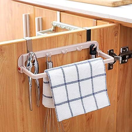 para colgar en el armario Toallero multifuncional plegable para cocina gancho de PVC y pl/ástico azul puerta con 5 ganchos