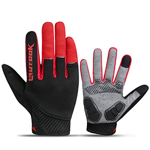 KUTOOK Bike Gloves, Breathable Full Finger Gel Gloves Riding Cycling Multi-sports Outdoor Red Large ()