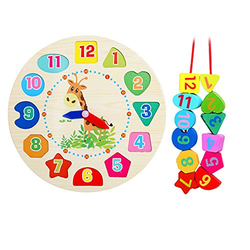 (Hot Sale!DEESEE(TM)Educational Baby Wooden Clock Beaded Beads Toy Toddler Infant Intelligence Toys)