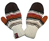 1407 MT Women's Hand Knit Wool Fleece Naubala Mittenl [Brown Multi]