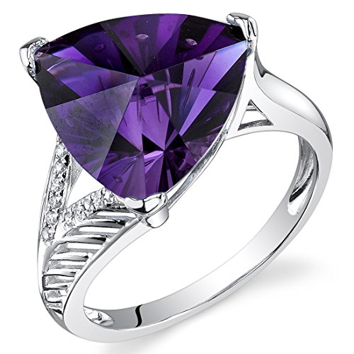 (14 Karat White Gold Trillion Pinwheel Cut 5.87 carats Amethyst Diamond Ring)