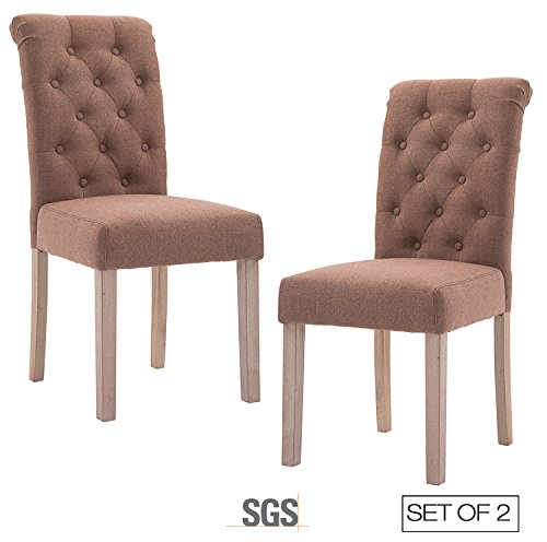 ZXBSWELE Set of 2 Button Tufted Dining Chair with Solid Wood Legs for Dining Room Living Room, (Dining Room Modern Dresser)