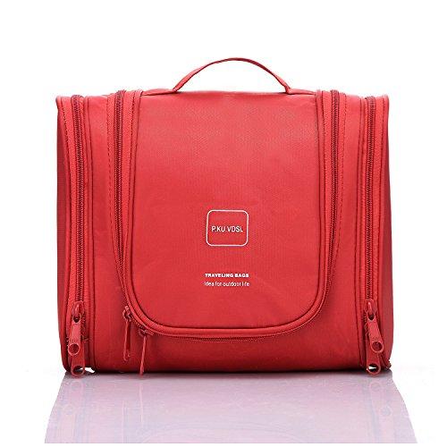 P.KU.VDSL® Appendere Beauty Case da Viaggio Borsa da Toilette Impiccagione Outdoor Pratico Cosmetici Borsa da Viaggio per Accessori Bagno (Rosso)
