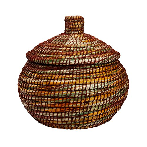 Grass Basket (Colorful Woven Kaisa Grass Basket With Lid 'Brushstrokes)
