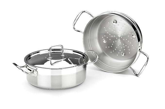 BRA Profesional - Set para cocinar al Vapor con Tapa, 24 cm, Acero Inoxidable 18/10: Amazon.es: Hogar