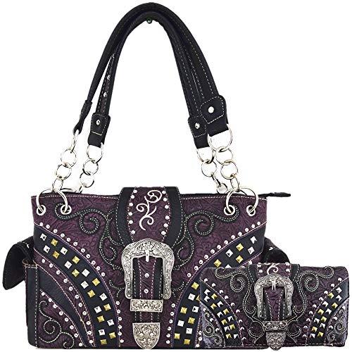Western Style Tooled Leather Buckle Concealed Carry Purse Country Handbag Women Shoulder Bag Wallet Set (#3 Purple Set)