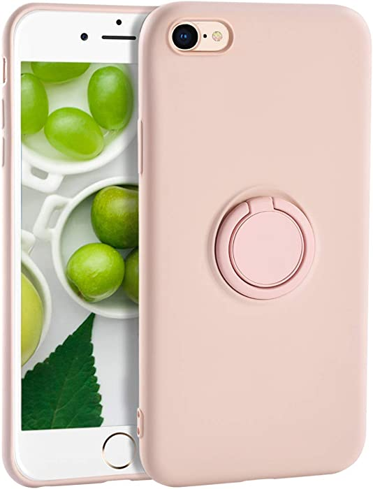 iPhone 6s Plus Case for Girls,Yoopake iPhone 6 Plus Case Liquid Silicone Case with Stand Ring Holder Support Magnetic Car Mount Soft Slim Fit Protective Phone Cover Case for Apple 6S Plus,Pink