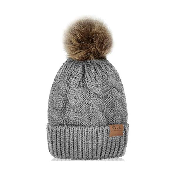 Kerrian Online Fashions 5108-zL0QZL Whiteleopard Kid Beanie Hats Lining Pom Pom for Children -Slouchy Cable Knit Toddler Skull Hat Baby Ski Cap for Girls Boys
