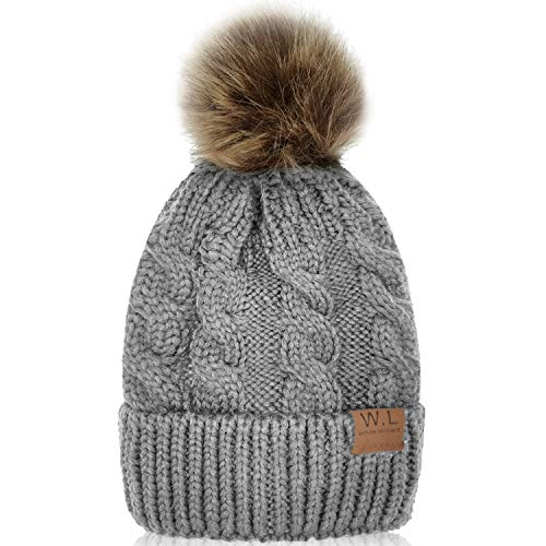 Kid Beanie Hats Lining Pom Pom for Children -Slouchy Cable Knit Toddler Skull Hat Baby Ski Cap for Girls Boys (Grey)