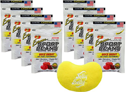 Jelly Belly Jelly Beans Assorted Flavor Quick Energy Caffeinated Extreme Sport Beans 1 Ounce Bags (Pack of 8) - with Jelly Belly Emoji Mini Plush]()