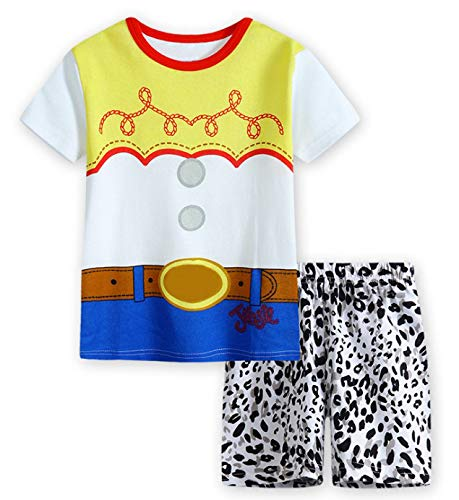 Jurebecia Girls Toddler Jessie Costume Dress Jessie Dress Up Halloween Costume Fancy Dress 1-8 Years (Short Sleeve Set, 6(5-6Years))]()