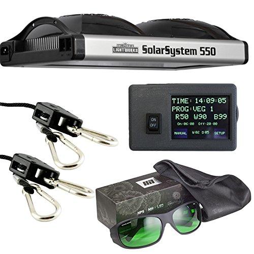 51080JeL1ML - California Lightworks Solar System 550 + Controller + Method Seven LED Glasses + Ratchet Ropes, Grow Light Fixture 400w, LED Commercial Lighting System
