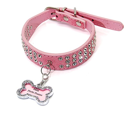 (BBDOGO Puppy Dog Collars Necklaces and Tag with Bling Crystal Girl Boy Dog Collars CW006,Pink,Size S ...)