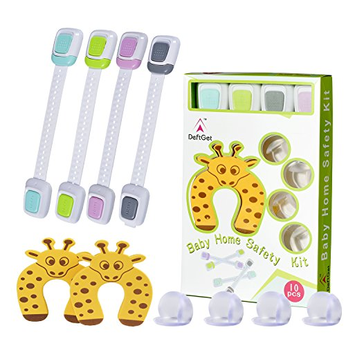 Safety Cabinet Locks Baby Proofing Kit 10 Piece - Adjustable Child Safety Cabinet Lock, Table Edge & Corner Guards,Door Stopper Protector Set - Home Safety Kits Gift by Deftget TM