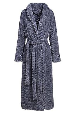 Artfasion Womens Long Thick Fleece Robe Warm Waist Belt Plush Bathrobe