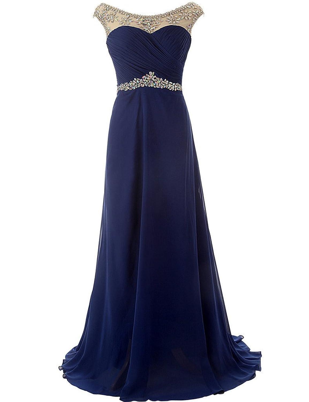 JAEDEN Beaded Neck Waist Long Formal Evening Dress Chiffon Prom Gown