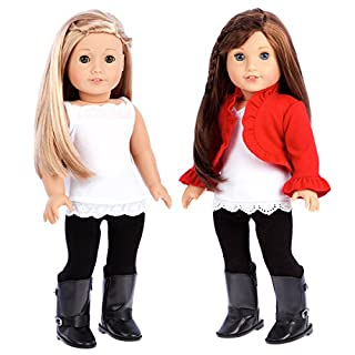 Uptown Girl - 4 Piece Outfit - red Ruffled Jacket, White Tank top, Black Leggings and Boots - 18 inch Doll Clothes (Doll not Included)