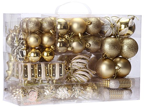 Christmas Tree Decorations - Sea Team 72-Pack Assorted Shatterproof Christmas Balls Christmas Ornaments Set Decorative Baubles Pendants with Reusable Hand-held Gift Package for Xmas Tree (Gold)