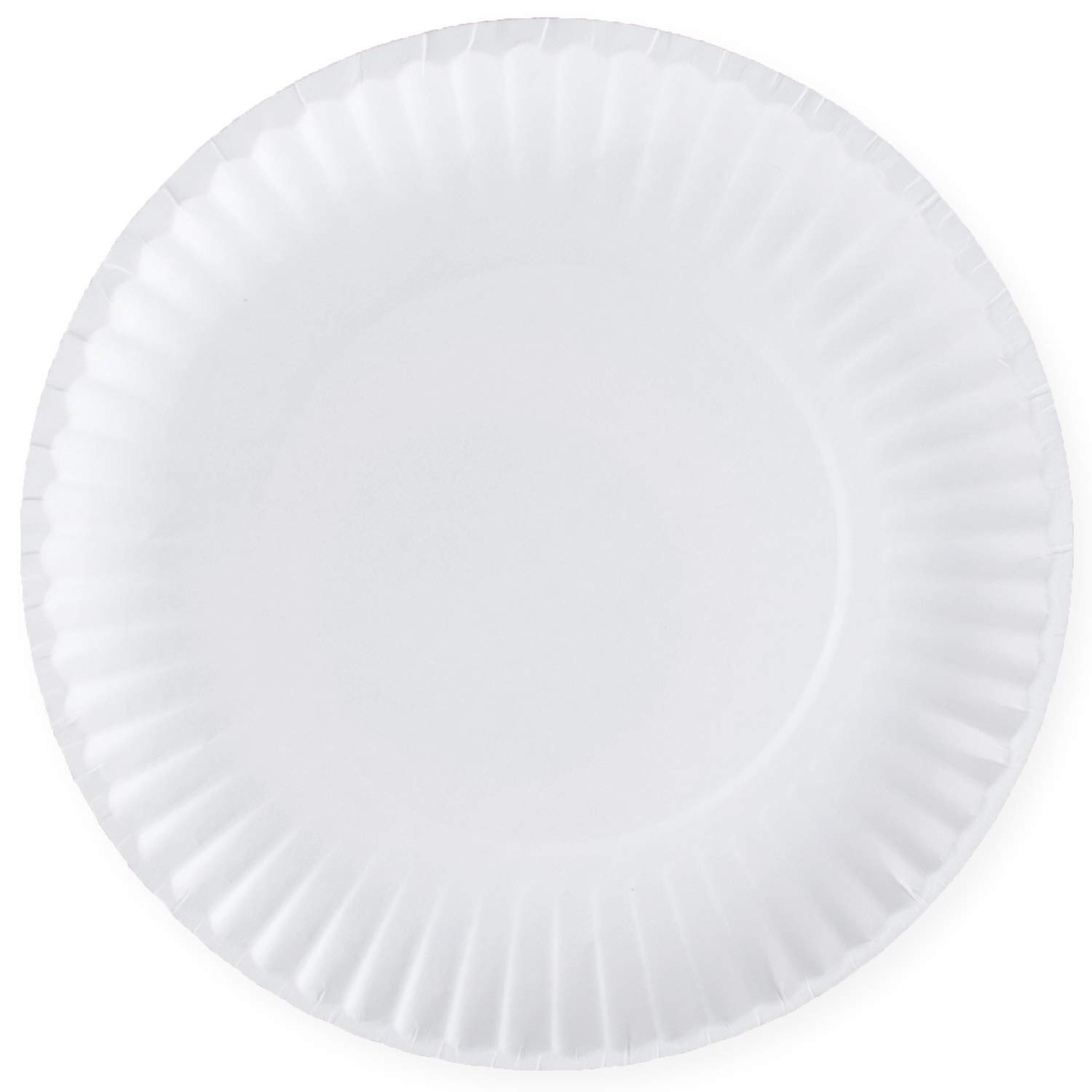 [300 Pack] Bulk Disposable White Uncoated Paper Plates, 9 Inch Large by Comfy Package