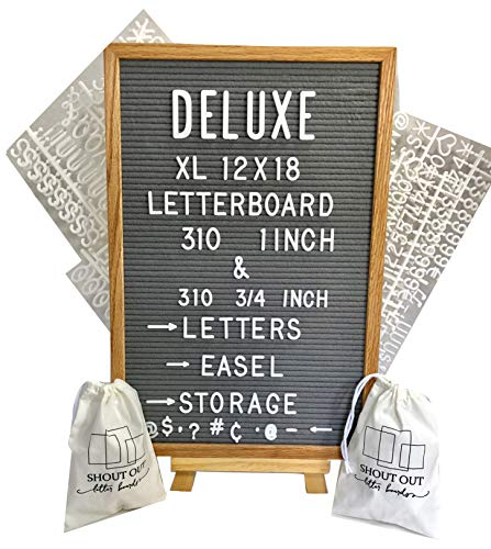 Grey Felt Letter Board with Easel Stand 12 x 18 | 620 Changeable Characters Including 1 inch and ¾ Letters, Symbols, Hashtag and More | Hook to Hang | 2 Canvas Storage Pouches